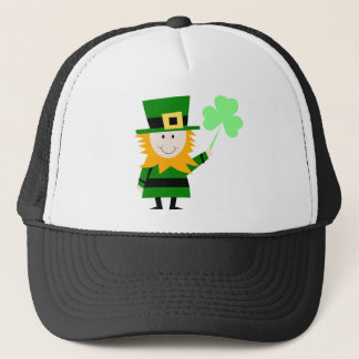 Leprechaun Lucky Clover Man Trucker Hat