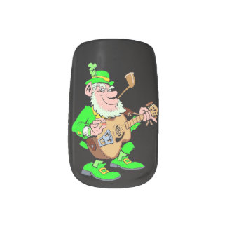 Leprechaun Musician Minx Nail Art