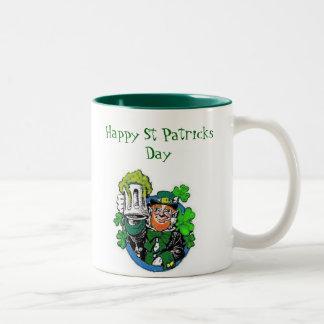 leprechaun party, Happy St Patricks Day Two-Tone Coffee Mug