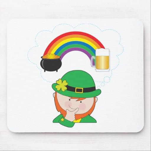 Leprechaun Rainbow Beer Mousepad
