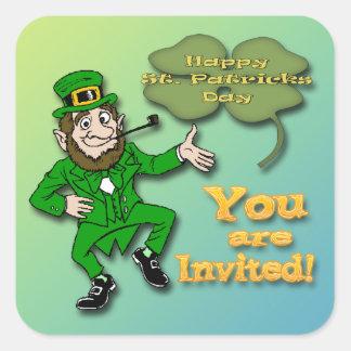 Leprechaun Shamrock Invitation envelope seal Square Sticker