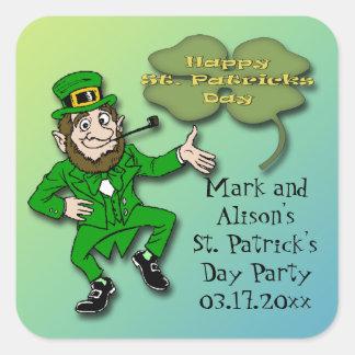 Leprechaun Shamrock St. Paddy's Day Party Favor Square Sticker
