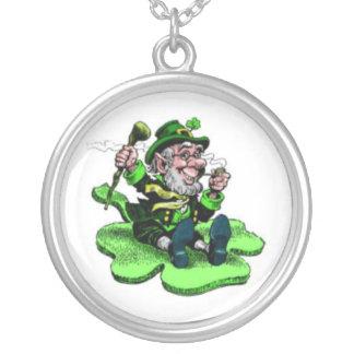 leprechaun silver plated necklace