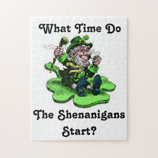 Leprechaun Sitting On A Shamrock Jigsaw Puzzle
