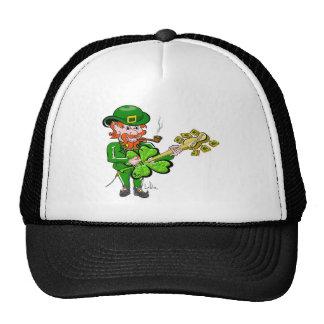 Leprechaun St. Patricks Day 4 leaf Clover Guitar Trucker Hat