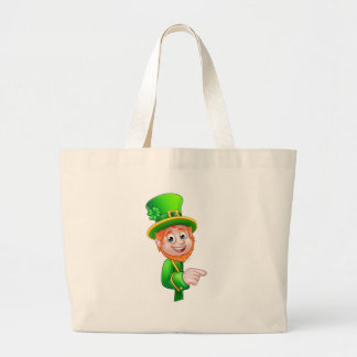 Leprechaun St Patricks Day Cartoon Mascot Pointing Large Tote Bag