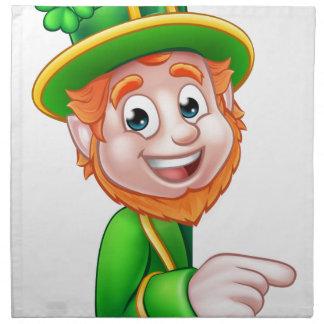 Leprechaun St Patricks Day Cartoon Mascot Pointing Napkin