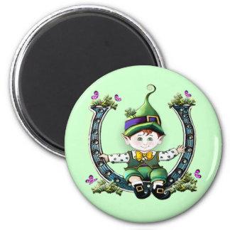 Leprechaun Swinging on Horseshoe Magnet