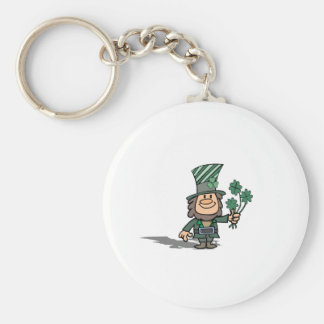 Leprechaun With Clovers Basic Round Button Keychain