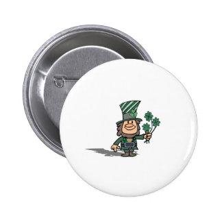 Leprechaun With Clovers Pinback Buttons