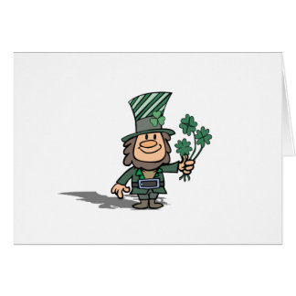 Leprechaun With Clovers Card