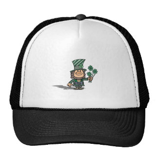 Leprechaun With Clovers Trucker Hats