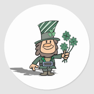 Leprechaun With Clovers Round Sticker
