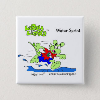 LeRoy Lizard Water Sprint Square Button / Pin