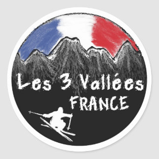 Les 3 Vallées France skier Round Sticker