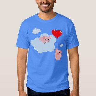 Les ailes du T-shirt d'amour (porcs mignons de