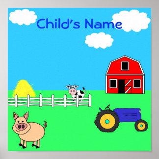 Les animaux de ferme ont personnalisé la copie nom poster
