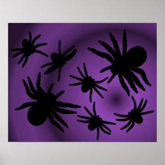 Les araignées noires sur la couleur choisissent l' affiches
