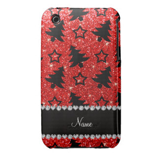 Les arbres de Noël rouges au néon nommés faits sur Coques Case-Mate iPhone 3