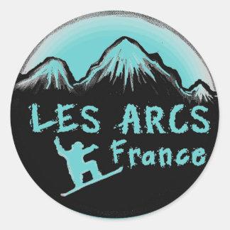 Les Arcs France artistic skier Classic Round Sticker