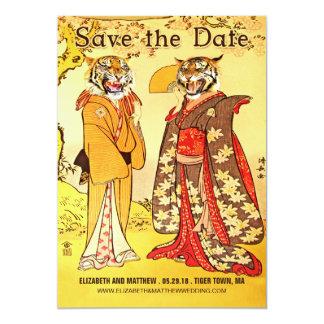 Les belles personnes de tigre sauvent les carton d'invitation  12,7 cm x 17,78 cm