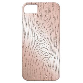 Les bois roses de faux d'or et de scintillement étuis iPhone 5