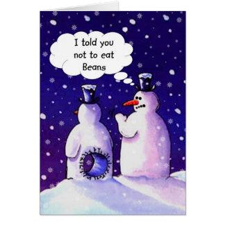 Les bonhommes de neige ne mangent pas des haricots carte de vœux