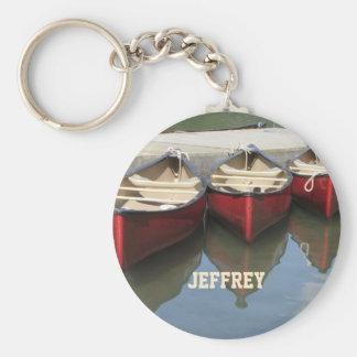 Les canoës rouges ont personnalisé le porte - clé porte-clé rond