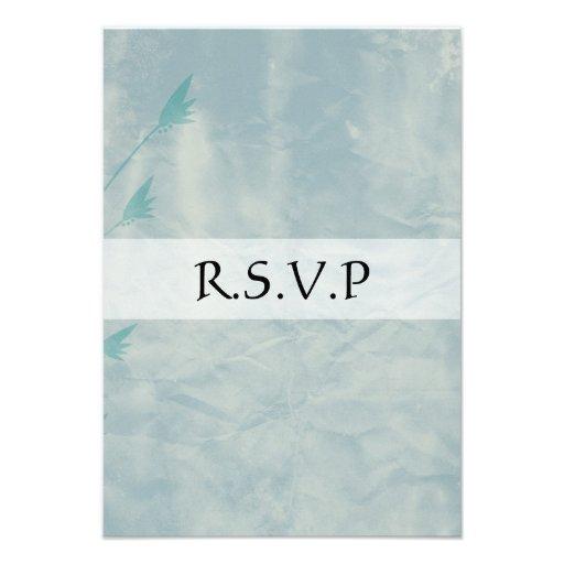 Les cartes de RSVP ont vieilli les fleurs bleues Invitations Personnalisées