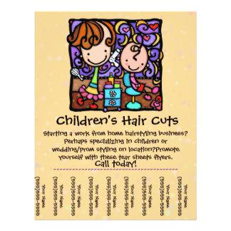 Les cheveux des enfants de coupes et de styles de  prospectus personnalisés