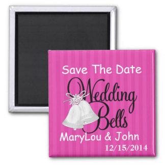 Les CLOCHES de MARIAGE sauvent l'aimant de DATE Magnet Carré