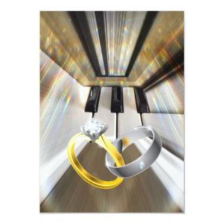 Les cloches de mariage sonnent… ou le piano carton d'invitation  12,7 cm x 17,78 cm