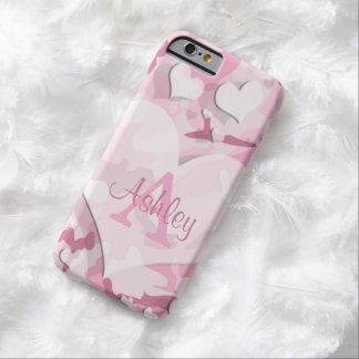 Les coeurs roses personnalisent le camouflage de coque iPhone 6 barely there