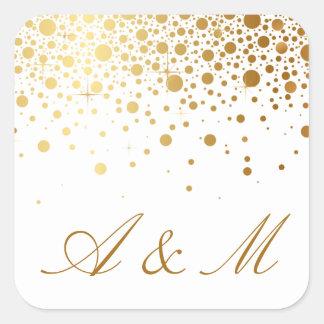 Les confettis de feuille d'or de Faux pointillent Sticker Carré
