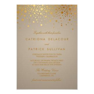 Les confettis de feuille d'or de Faux pointillent Carton D'invitation 12,7 Cm X 17,78 Cm