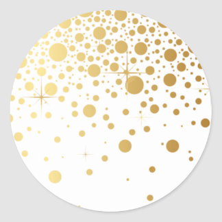 Les confettis de feuille d'or de Faux pointillent Sticker Rond
