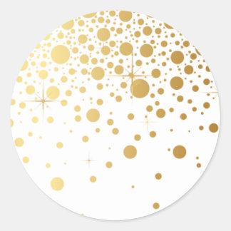 Les confettis de feuille d'or de Faux pointillent Sticker Rond