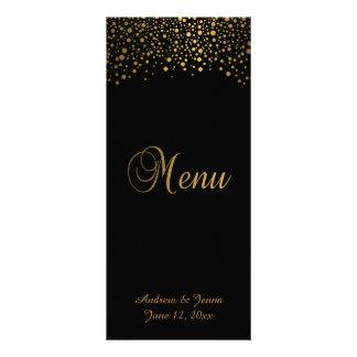 Les confettis élégants d'or pointillent le noir de modèle de double carte