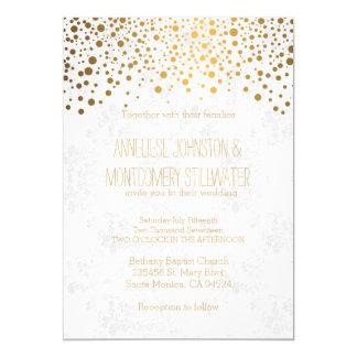 Les confettis élégants d'or pointillent le thème carton d'invitation  12,7 cm x 17,78 cm