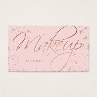 Les confettis roses d'or de faux de maquillage cartes de visite