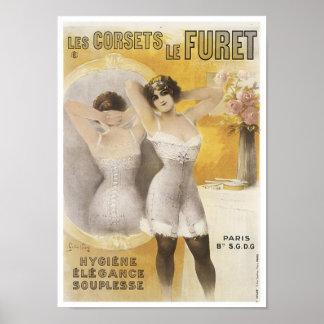 Les Corsets Le Furet Vintage Corset Ad Poster