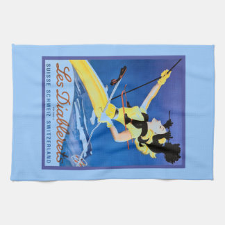 Les Diablerets, Switzerland, Vintage ski poster Kitchen Towel