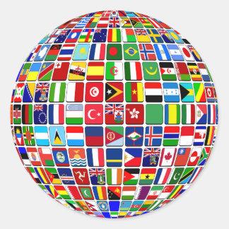 Les drapeaux internationaux ont globalement uni sticker rond