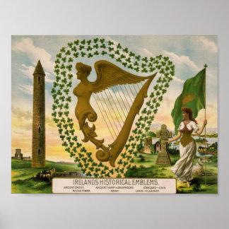 Les emblèmes historiques de l'Irlande Affiches
