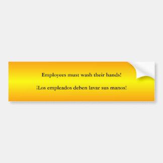 Les employés doivent laver des mains anglaises/Esp Autocollant De Voiture