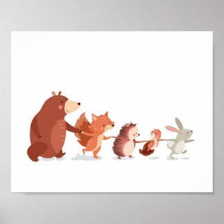Les enfants animaux de décalque de mur de crèche poster