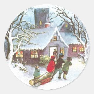 Les enfants apportent à la maison Noël de cru de Adhésifs Ronds