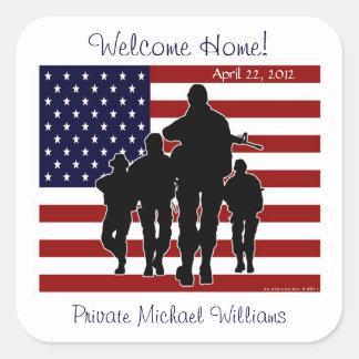 Les Etats-Unis diminuent et les soldats font bon Sticker Carré