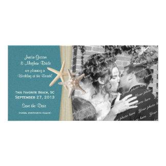 Les étoiles de mer de mariage de plage sauvent la  carte avec photo