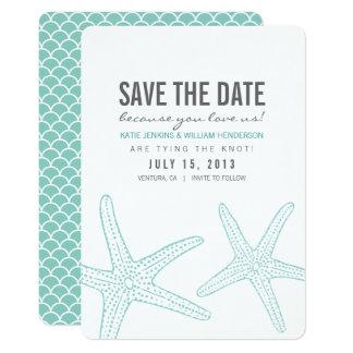 Les étoiles de mer mignonnes sauvent la carte de carton d'invitation  12,7 cm x 17,78 cm
